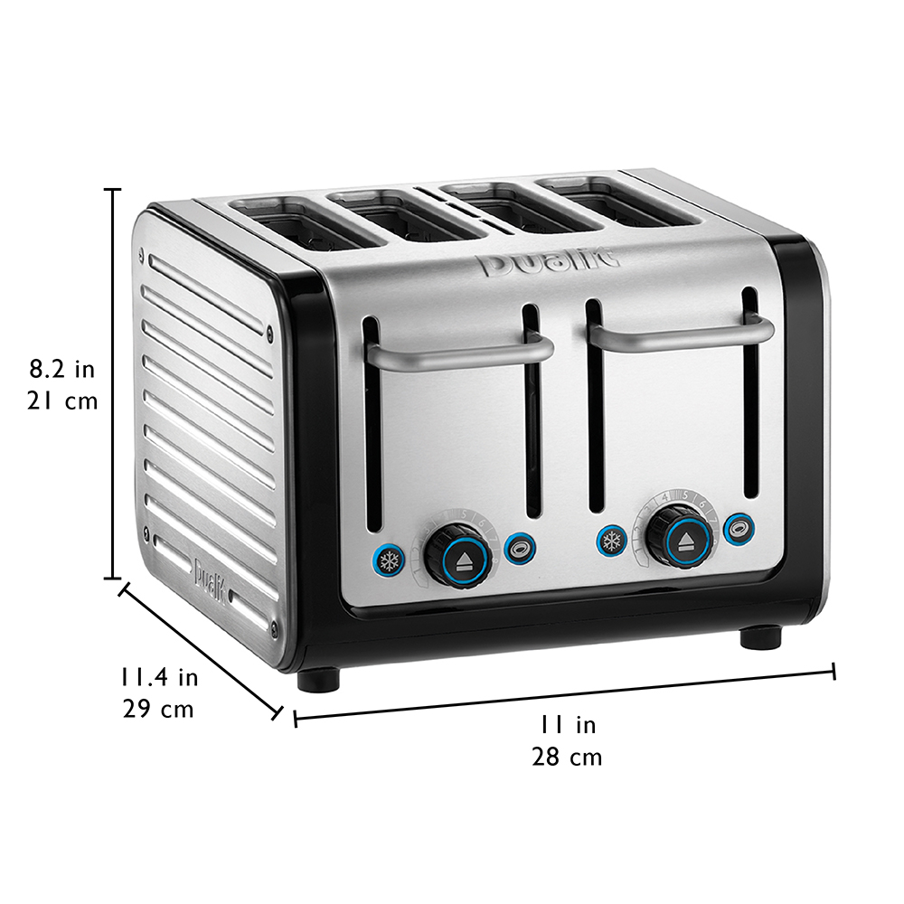 Dualit Architect 4 Slot Black Body With Brushed Stainless Steel Panel Toaster