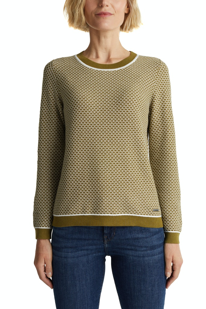 Jacquard jumper in a two-tone look Olive