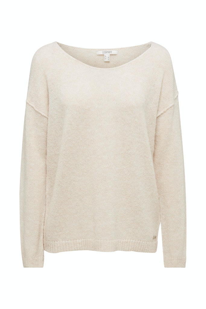 Jumper with a round neckline, with wool & alpaca  Beige