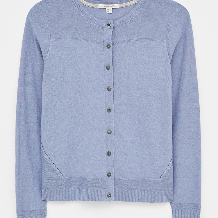 City Plain Crew Neck Cardigan Blue
