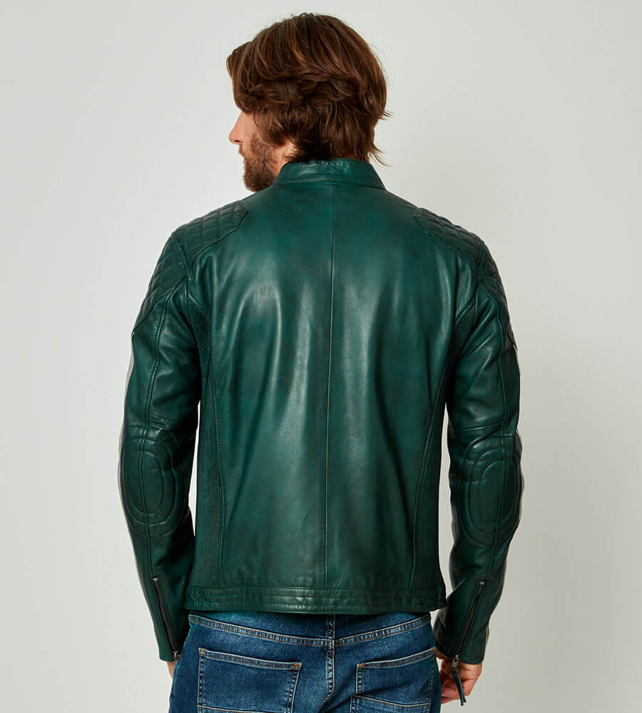 Feel The Speed Leather Jacket Teal