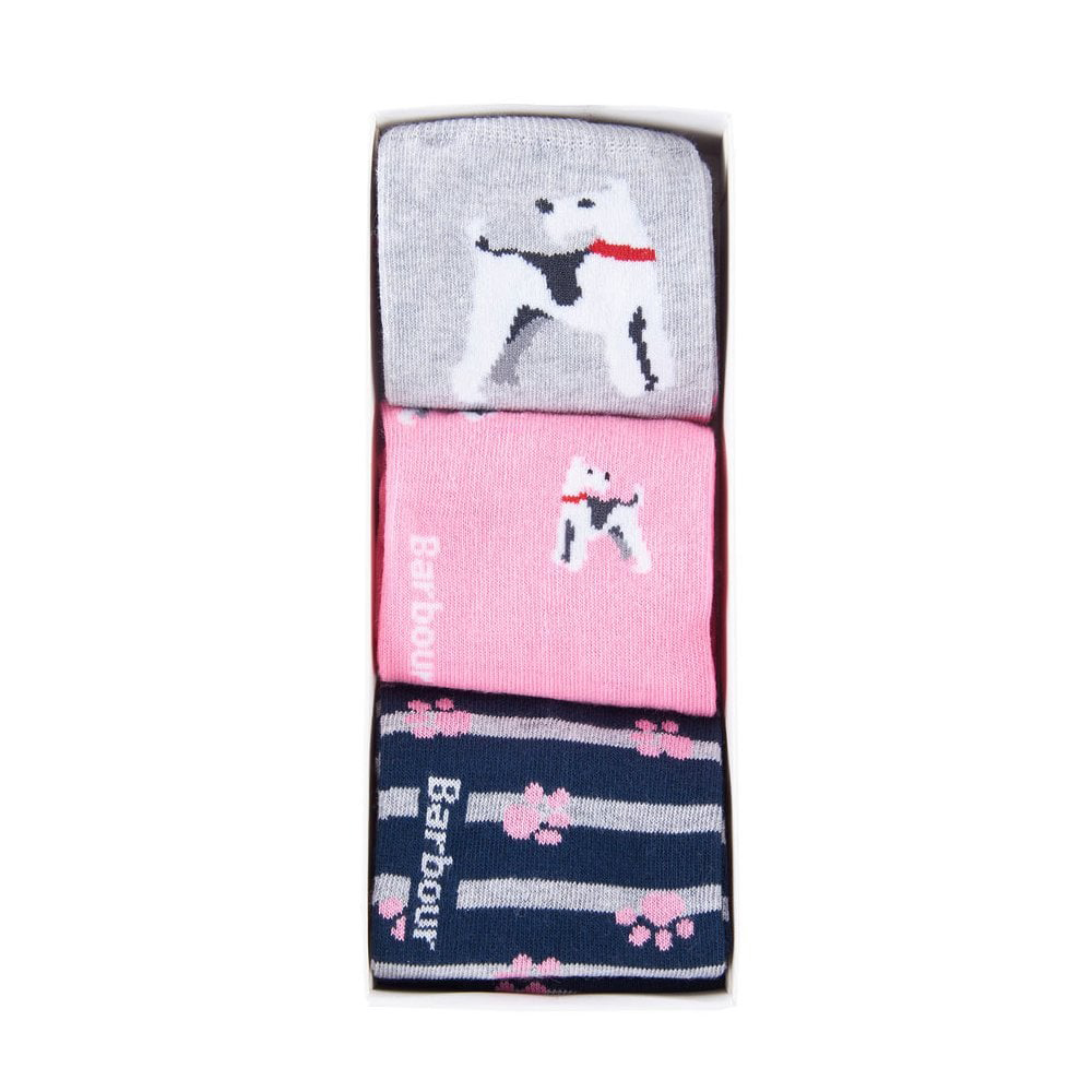 Barbour Terrier Paw Sock Gift Box pink, navy, grey mix