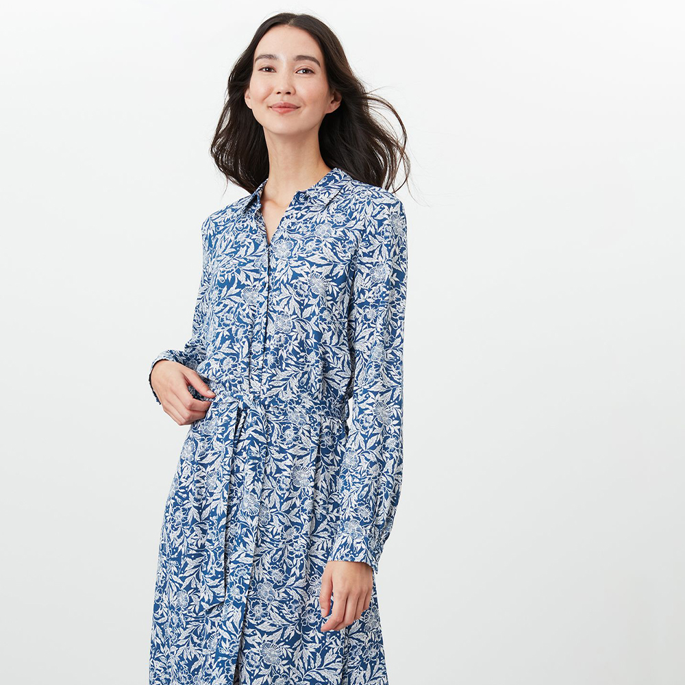 Aurelie A Line Shirt Dress Blue