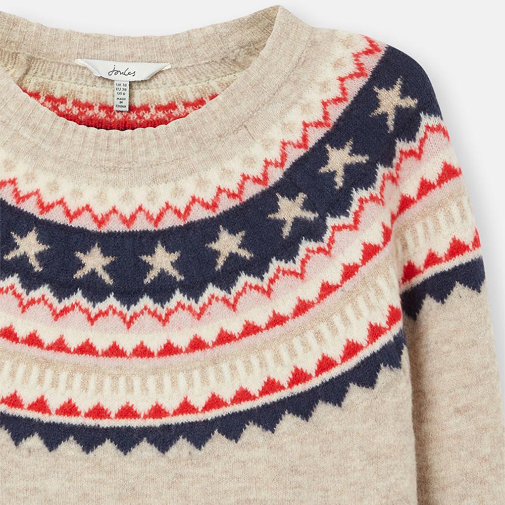 Joules Women Janelle Knitted Jumper in Oat Fairisle Cream
