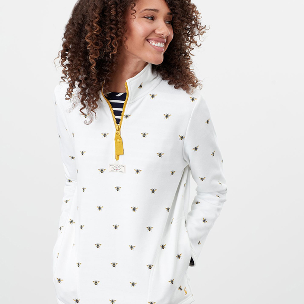 Pip Print Casual Half Zip Sweatshirt Cream
