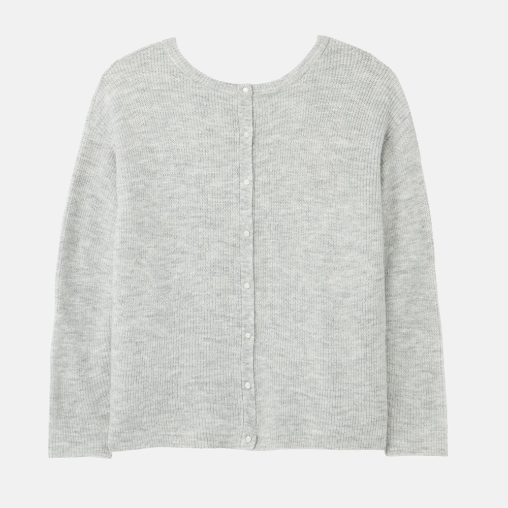 Rosy Knitted Reversible Button Up Cardigan Grey