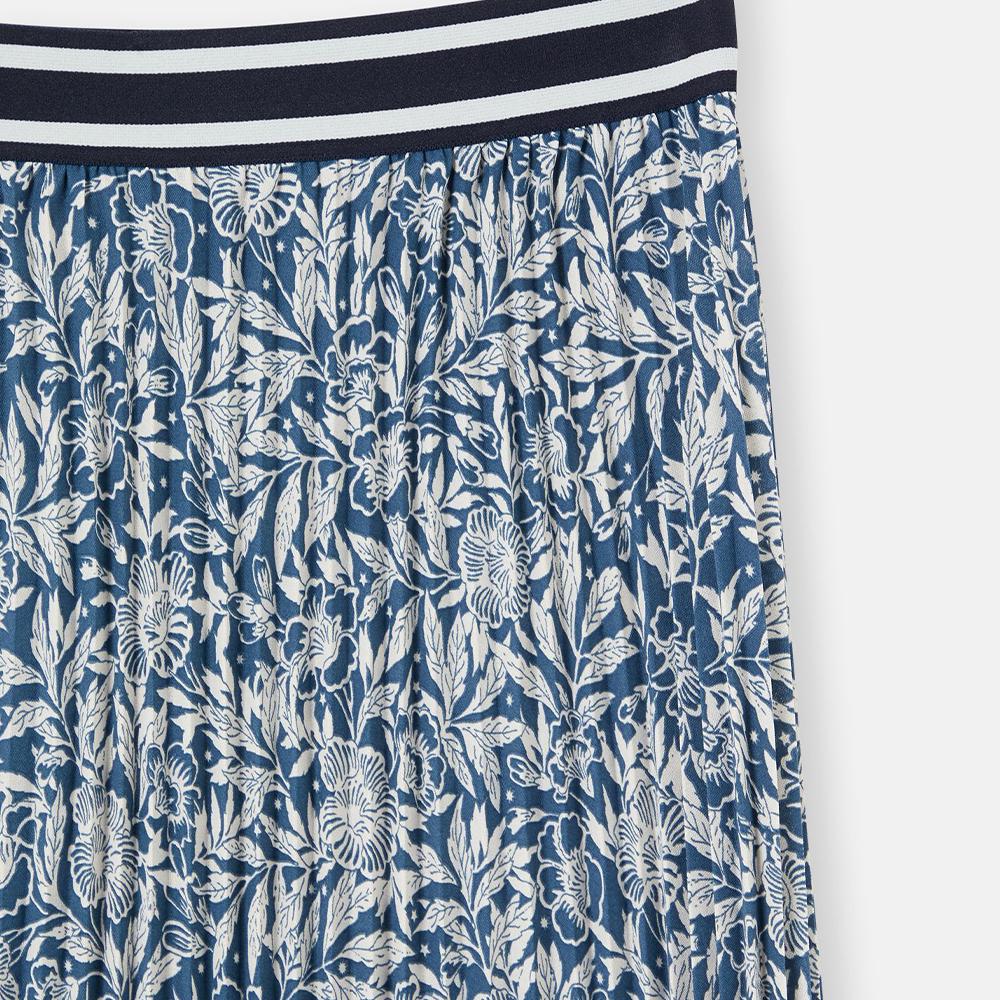 Eila Pleated Skirt With Elasticated Waistband Blue