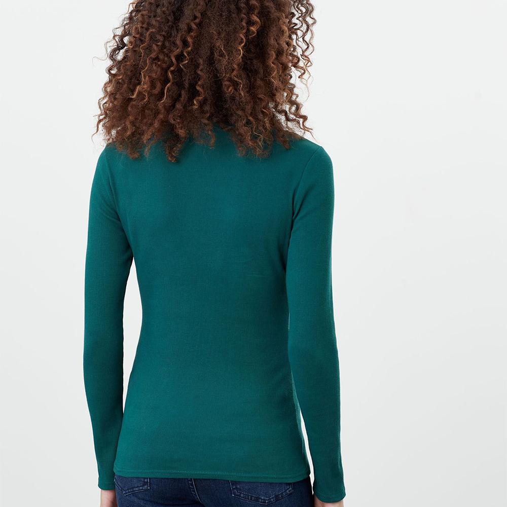 Clarissa Roll Neck Jersey Top Green