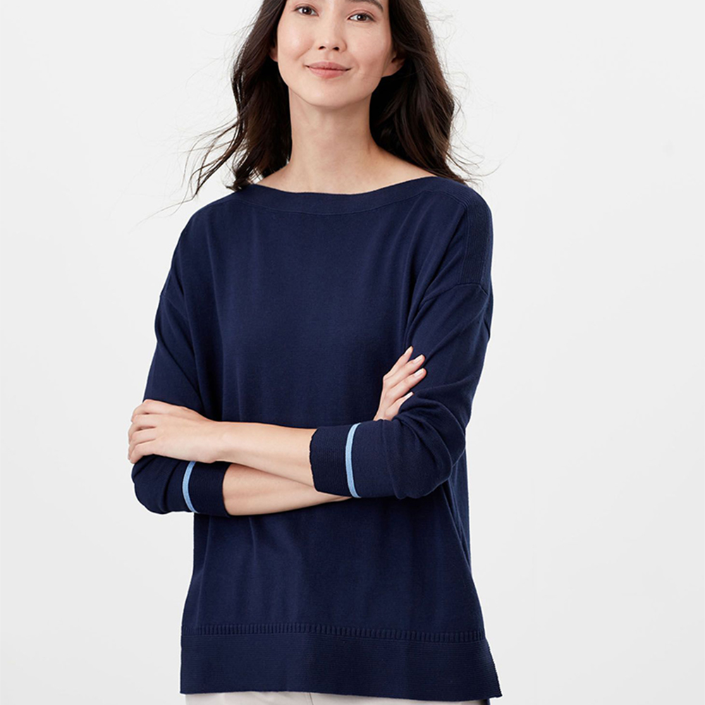 Vivianna Slash Neck Intarsia Block Navy