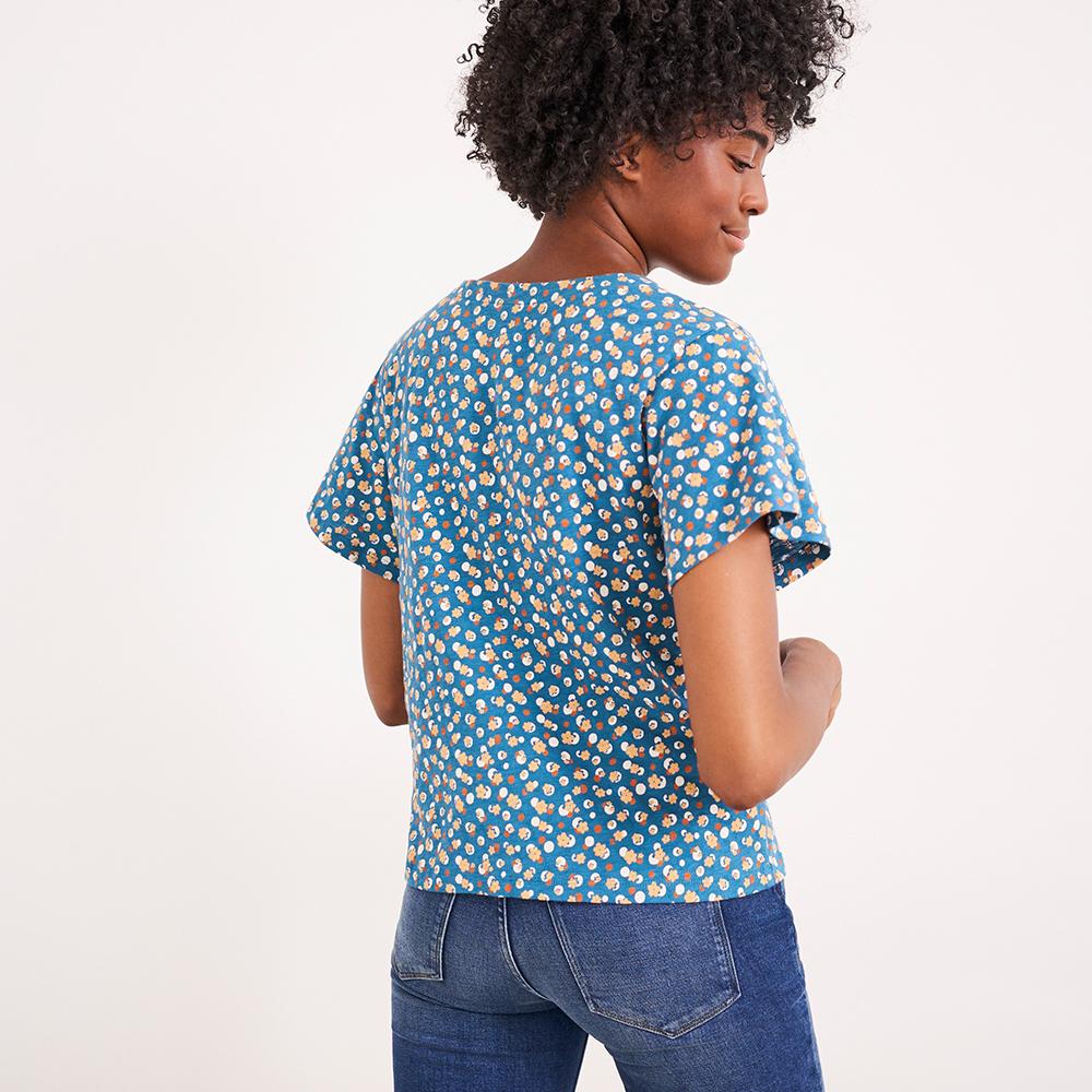 Button Organic Textured Top Blue