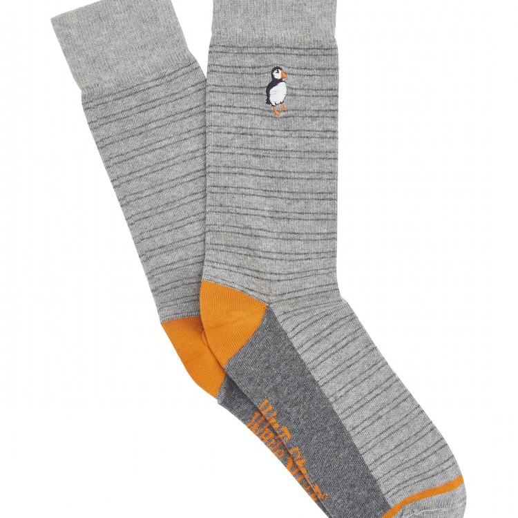 Embroidered Puffin Socks Grey