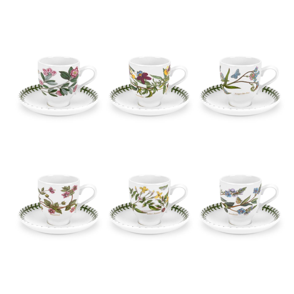 Portmeirion Botanic Garden Coffee Cup and Saucer Set of 6