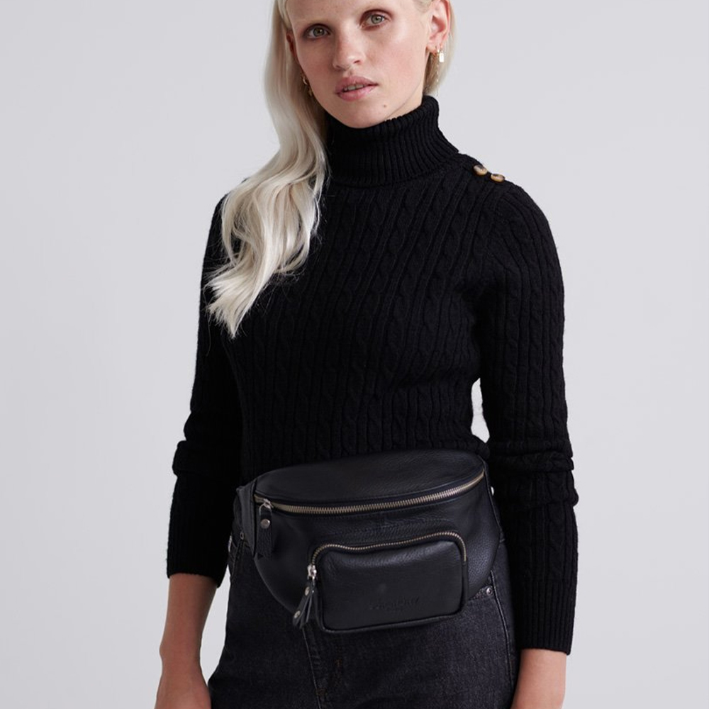 Croyde Cable Roll Neck Black