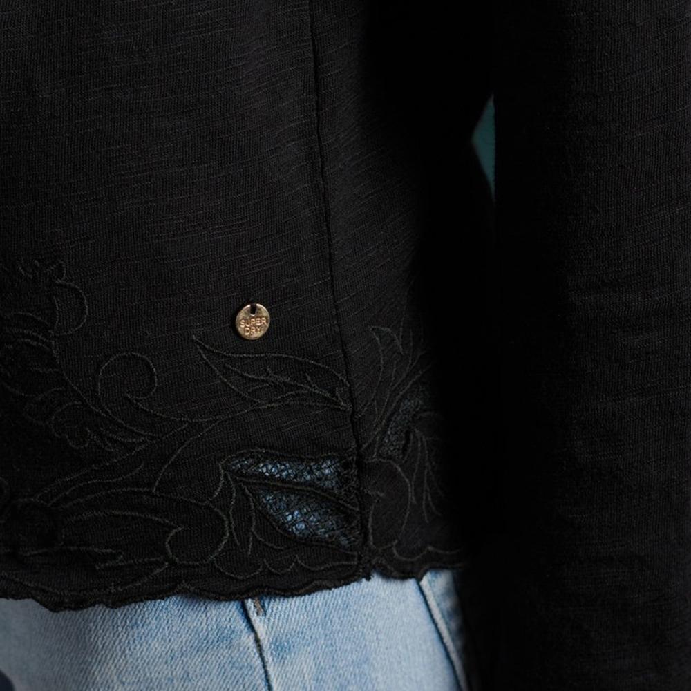 Embroidered Hem Slub Long Sleeved Top Black