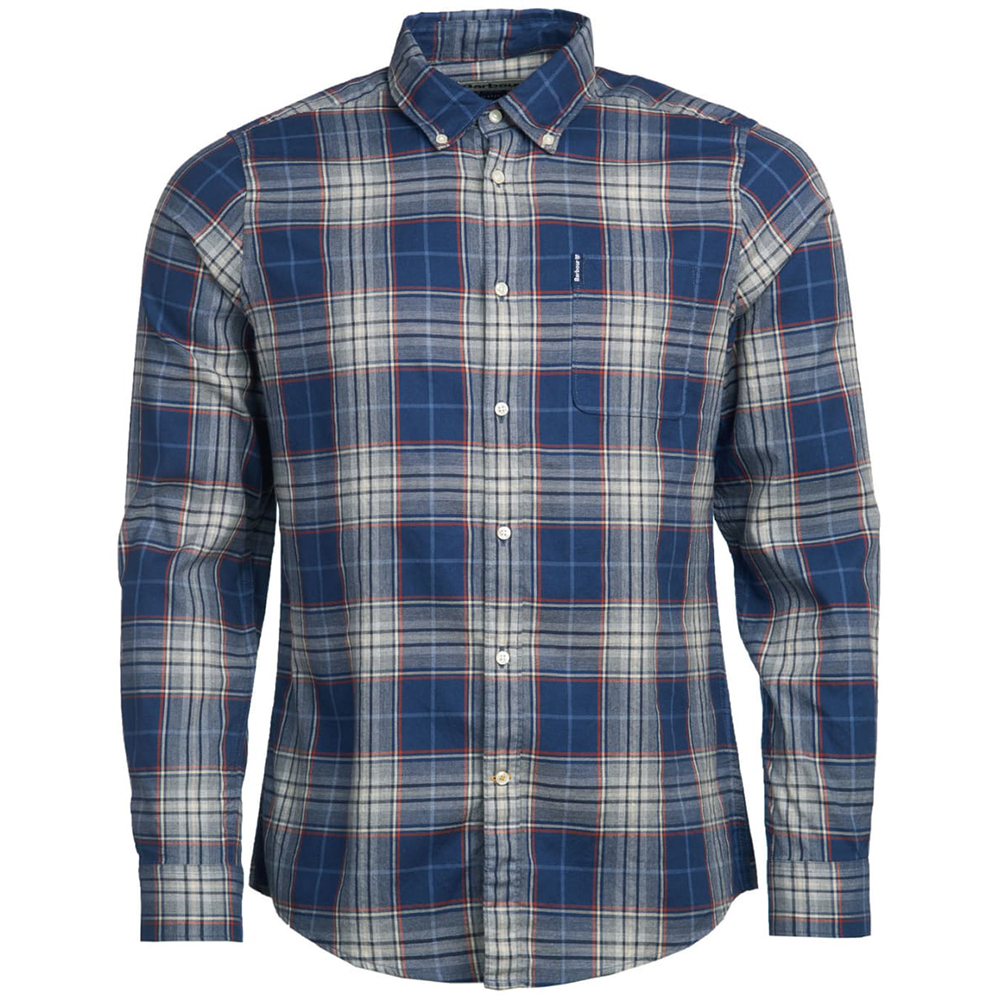 Barbour Mens Highland Check 10 Tailored Shirt Navy