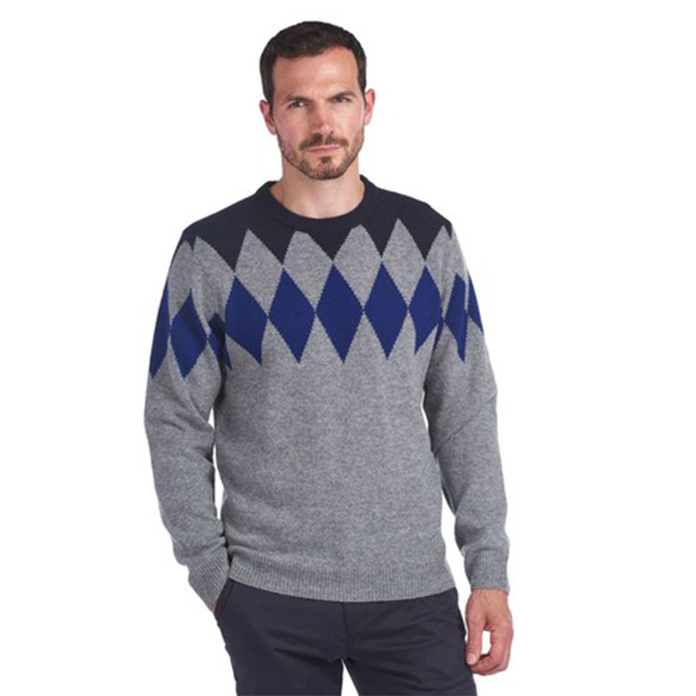 Barbour® Diamond Crew Neck Jumper Navy