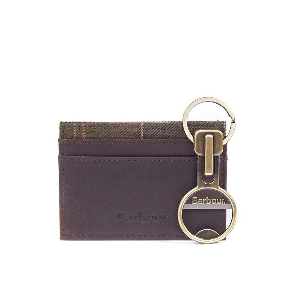 Barbour Mens Keyring And Cardholder Gift Set