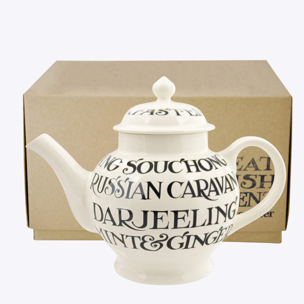 Emma Bridgewater Black Toast All Over 4 Mug Teapot Boxed