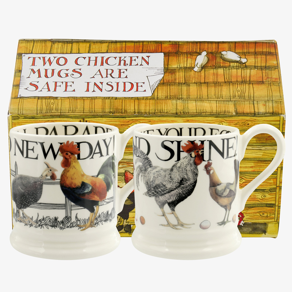 Emma Bridgewater Rise & Shine Set of 2 1/2 Pint Mugs Boxed