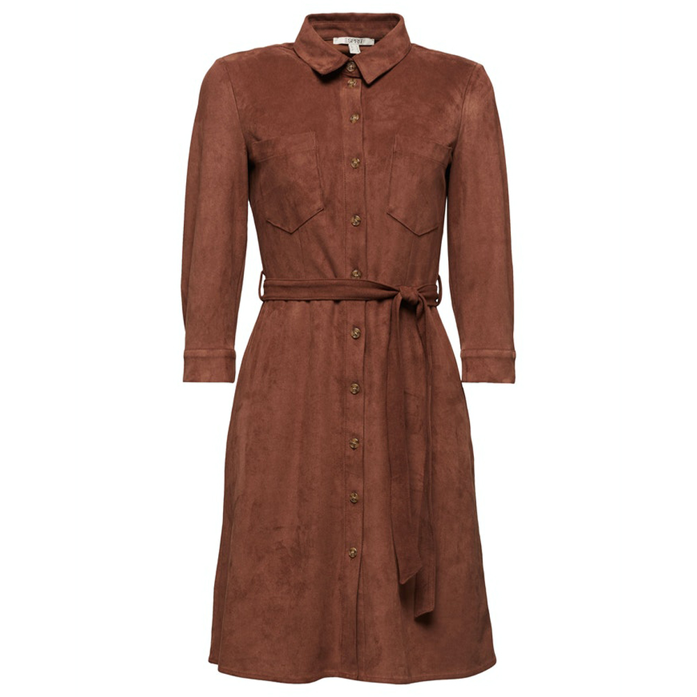 Esprit Shirt Dress In Faux Suede