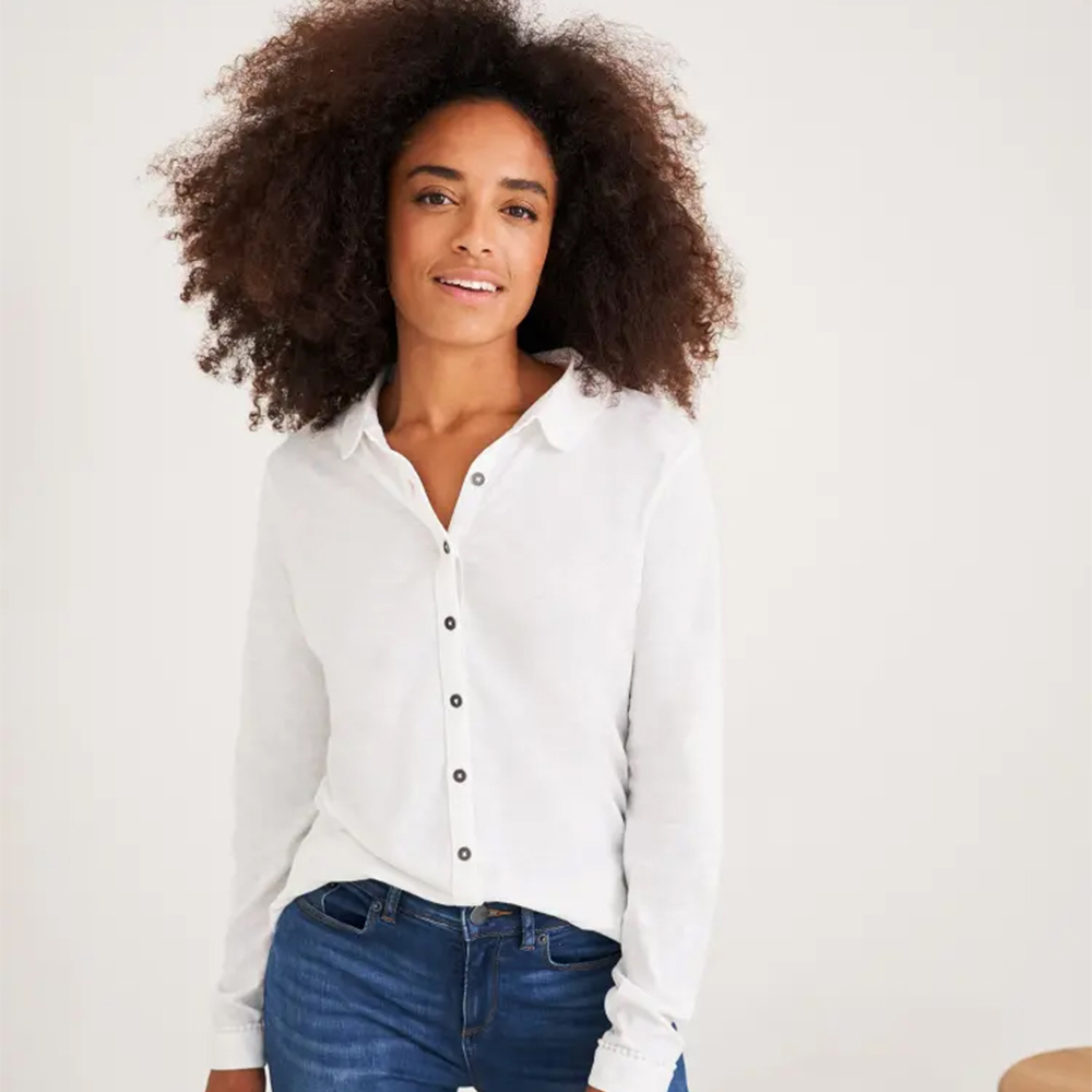 White Stuff Pom Trim Jersey Shirt