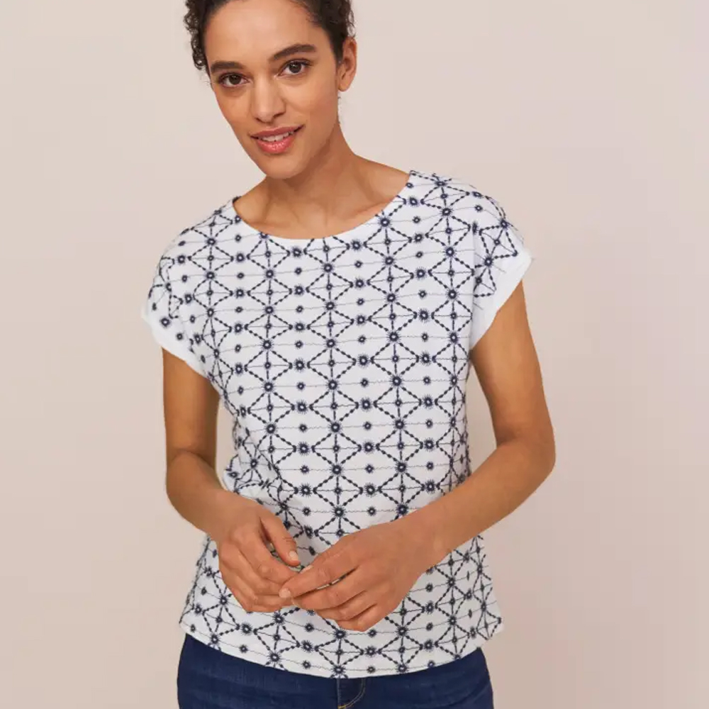 White Stuff Geo Embroidered Tee