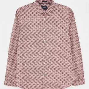 Abstract Fern Print Shirt  Light Pink/LARGE