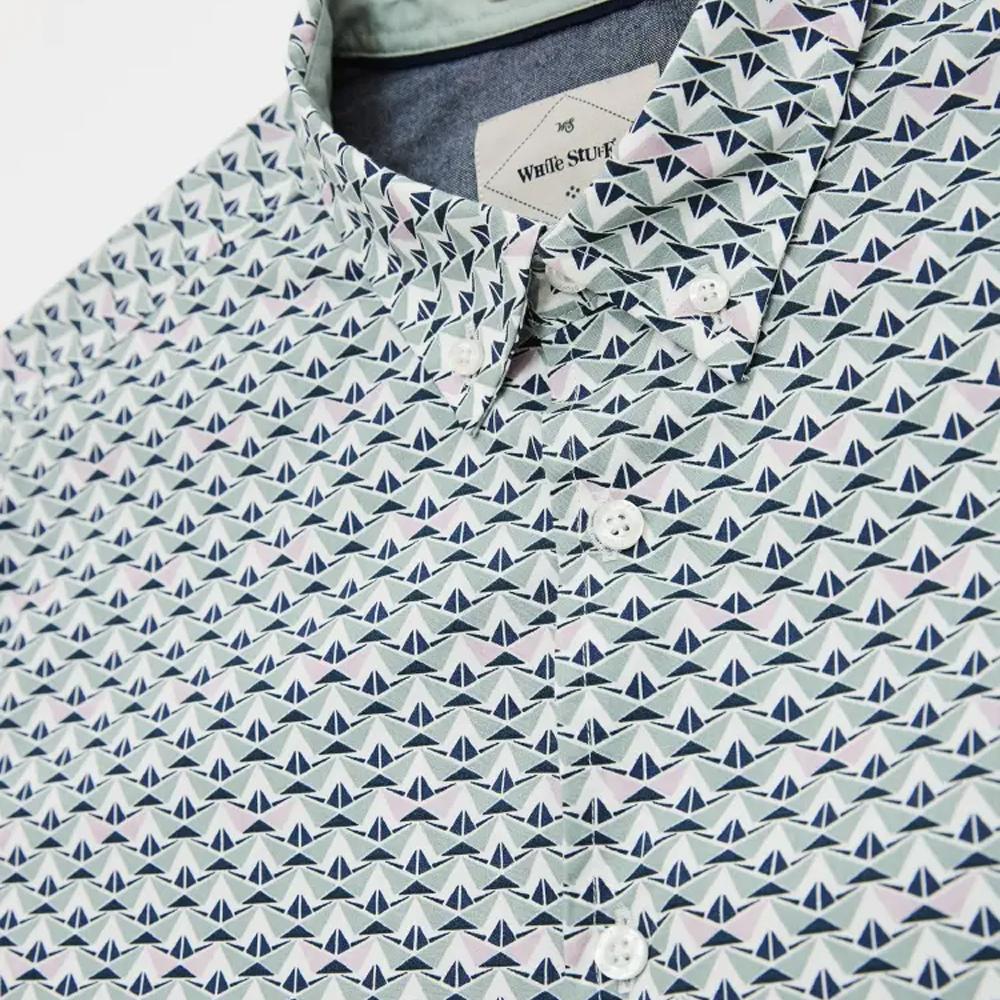 Geo Boat Print Shirt  Duck Egg Blue/LARGE