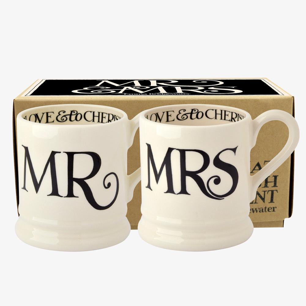 Emma Bridgewater Black Toast 'Mr & Mrs' Set of 2 1/2 Pint Mugs Boxed