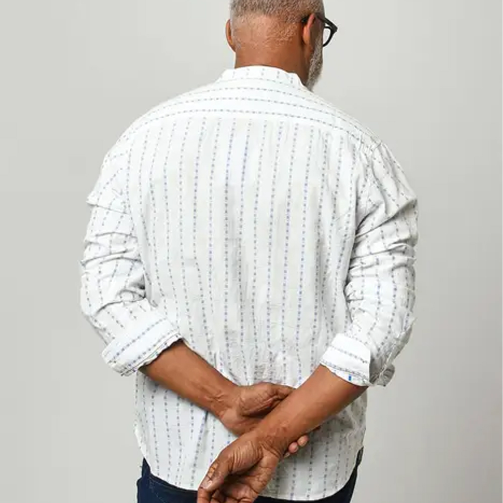 Joe Browns Blue Stripe Grandad Shirt